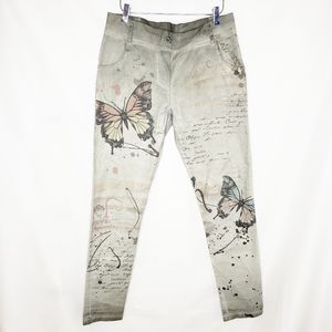 Carla Giannini Butterfly Print Stretchy Pants L